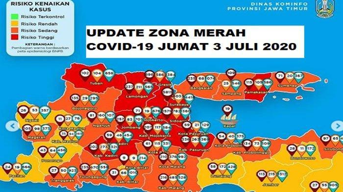 Update Zona Merah Jawa Timur Jumat 3 Juli 2020: Kota Malang Merah, Bojonegoro Orange, Ngawi Kuning