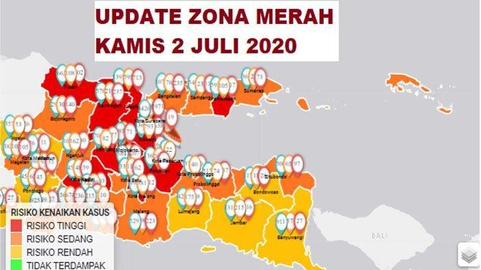 Update Zona Merah Jawa Timur Kamis 2 Juli 2020: Kediri Zona Merah, Nganjuk Orange, Blitar Kuning