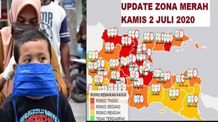 Update Zona Merah Jawa Timur Kamis 2 Juli 2020: Surabaya dan Kota Malang Merah, Magetan Orange