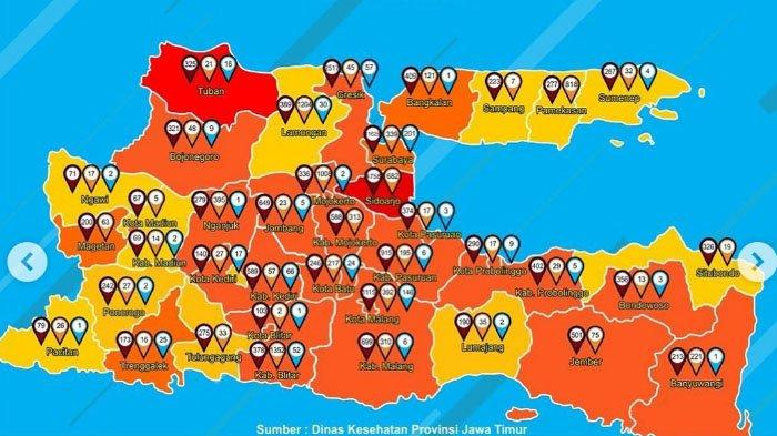 Update Zona Merah Jawa Timur Rabu 26 Agustus 2020: Tuban Zona Merah, Malang Oranye, Ponorogo Kuning