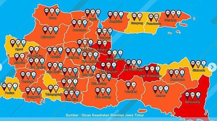 Update Zona Merah Jawa Timur Rabu 6 September 2020: Probolinggo Merah, Blitar Oranye, Ngawi Kuning