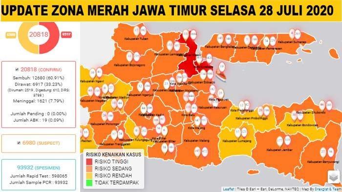 Update Zona Merah Jawa Timur Selasa 28 Juli 2020: Kota Pasuruan Merah, Sidoarjo Orange, Ngawi Kuning