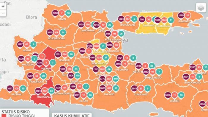 Daerah Zona Merah Jawa Timur 9 Februari 2021: Kabupaten Madiun, Kabupaten Trenggalek