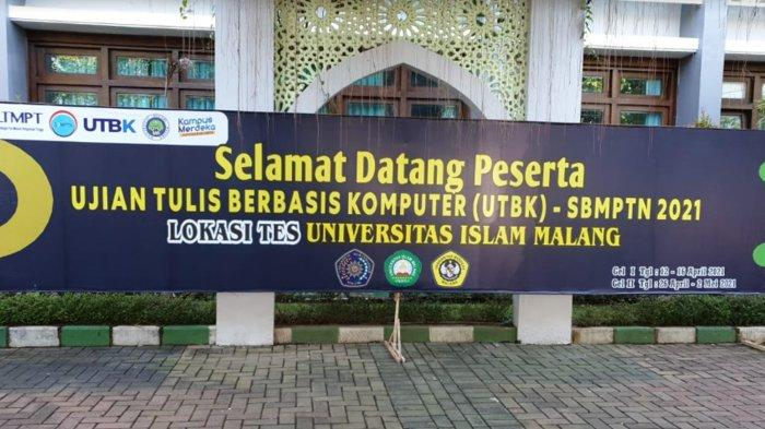 Penyambutan peserta UTBK SBMPTN di Unisma, Senin (12/4/2021). Unisma adalah mitra Pusat UTBK Universitas Negeri Malang (UM) bersama dua PTS lainnya.