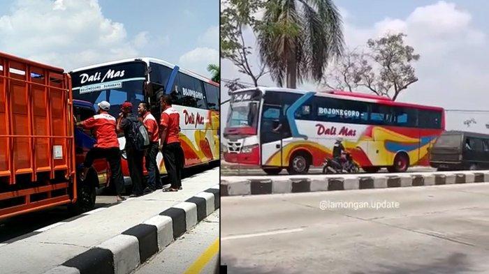 Video Viral Truk Hadang Bus Dali Mas yang Lawan Arus di Desa Rejosari, Deket Lamongan, Ada Adu Mulut