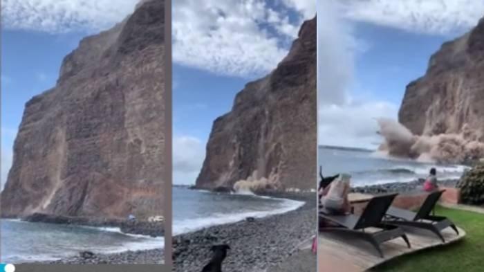 video detik-detik tebing raksasa runtuh ke pantai