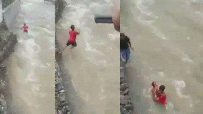 Video Menegangkan Balita Terseret Arus Sungai, Diselamatkan Anggota TNI dengan Cara yang Luar Biasa