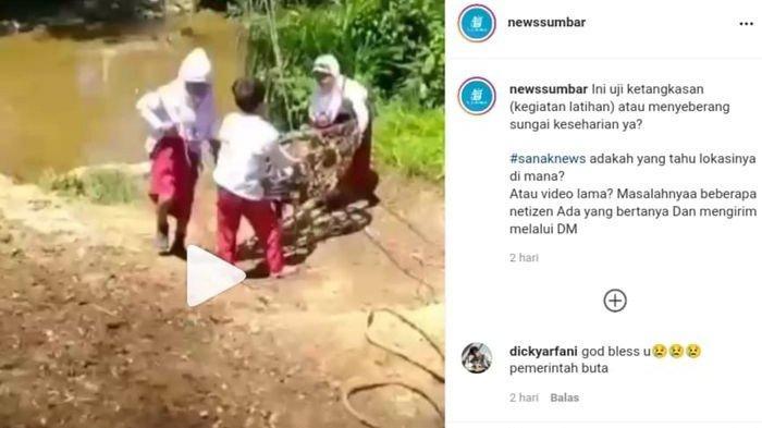 Video viral 3 bocah bergelantungan menyebrangi sungai
