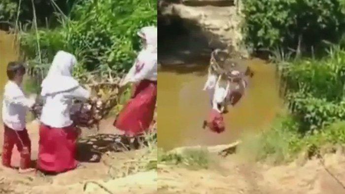 Kisah Sebenarnya Bocah SD Gelantungan Sebrangi Sungai Demi Pulang ke Rumah, Babinsa Tegur Orangtua