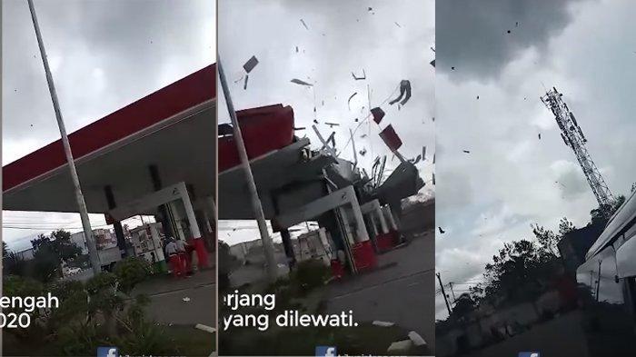 Detik-detik Kengerian Angin Puting Beliung Sapu SPBU di Semarang Bikin Atap Terbang, Langit Mencekam