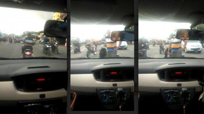 Video Viral Pria di Gresik membawa paving menghentikan laju kendaran mobil yang dikemudikan oleh mahasiswi PTN di Malang di Jalan Raya Sukomulyo, Tenger, Manyar, Jumat (19/2/2021).