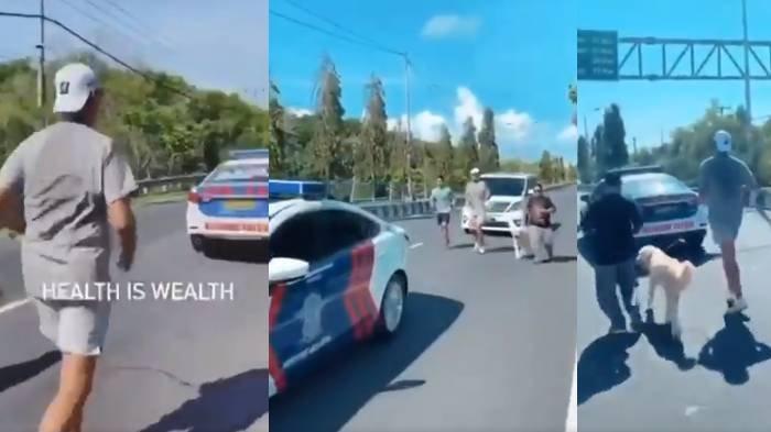 video viral pria jogging di kawal polisi di Bali