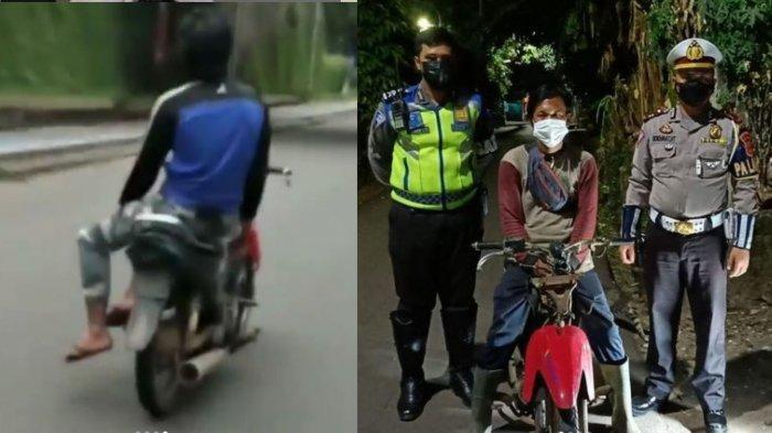 Aksi Nekat Pria Sirkus di Atas Motor Viral, Lepas Stang dan Duduk Bersila, Kini Berujung Polisi