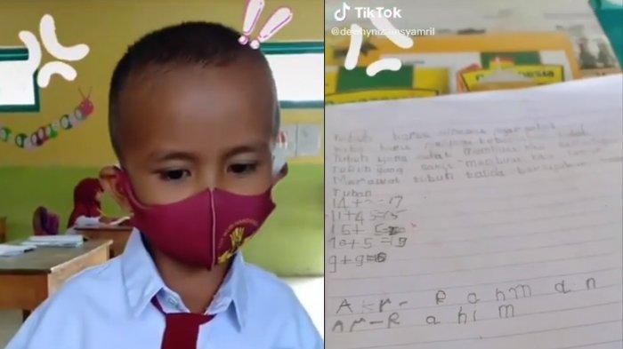 Aksi Lucu Bocah SD Buat Tulisan Berspasi Viral, hingga Buat Gurunya Heran: Disuruh Ibu Jaga Jarak