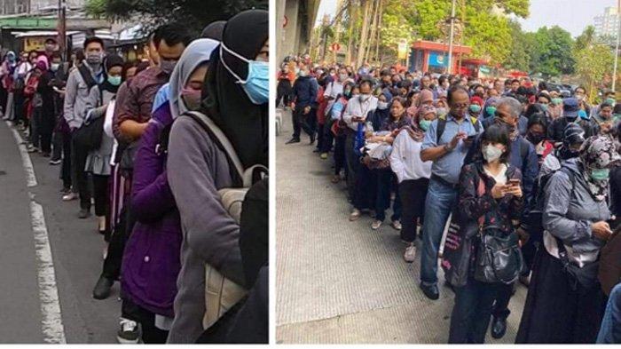 Viral Foto-Foto Warga Jakarta Antri Bus, Dampak Kebijakan Virus Corona, Begini Kondisi Sebenarnya