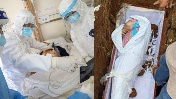 Viral Foto Jenazah Suspek Covid-19 Pakai Daster Saat Dimasukkan Peti Mati, Dibenarkan Pak Lurah