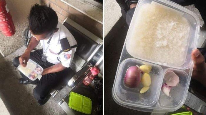 Pantas Saja Viral, Foto Satpam saat Makan Nasi Bikin Banyak Orang Merasa Simpati, Perhatikan Lauknya