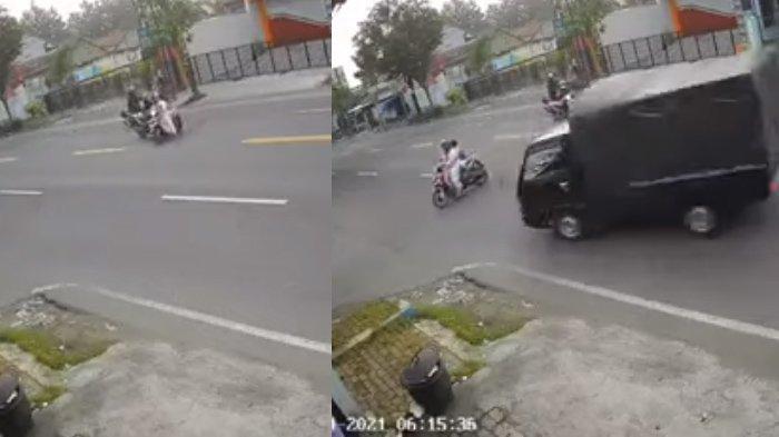 Viral Rekaman CCTV Emak-Emak Tertabrak Pikap di Tulungagung, Sempat Bersenggolan dengan Motor Lain