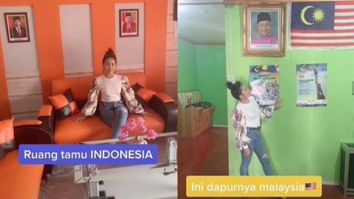 Pamer Rumah di Perbatasan 2 Negara, Aksi Wanita Ini Viral, Dapur Malaysia dan Ruang Tamu Indonesia
