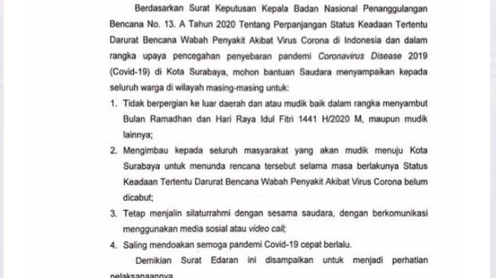 4 Poin Surat Wali Kota Risma untuk Warga Surabaya : Jangan Mudik, Tapi Tetap Silaturahmi