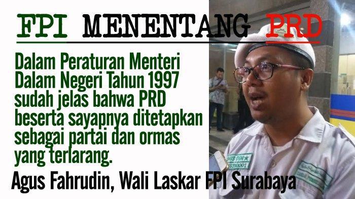 FPI Tolak Acara Partai Rakyat Demokratik (PRD), Singgung Wawali Surabaya Jadi Pengisi Diskusi