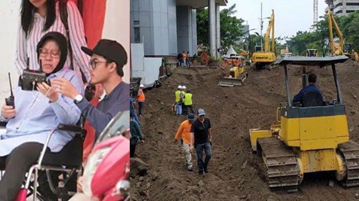 Walikota Risma Ungkap Kabar Terkini Jalan Gubeng Ambles, Mulai Tersambung & Bisa Dilalui Alat Berat