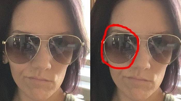 Wanita Ini Langsung Ketakutan Lihat Foto Selfienya, Ada Bayangan Aneh di Kacamata Terlihat Jelas