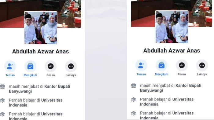 Waspada Bila Berteman dengan Akun FB Mirip Bupati Banyuwangi, Azwar Anas, Ada Wanita Jadi Korban