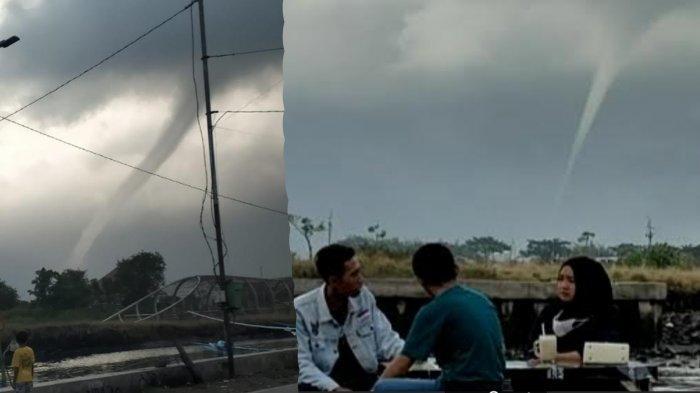 Muncul Fenomena Waterspout/Puting Beliung Air di Selat Bali Pantai Boom Marina Banyuwangi