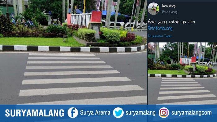 Zebra Cross Aneh Mengarah ke Taman Kota Jadi Bahan Perbincangan Warga Kota Malang di Twitter