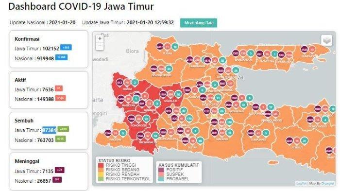 Zona Merah Jawa Timur Hari Ini Kamis 21 Januari 2021, Ada 7 Daerah Termasuk Ngawi dan Trenggalek