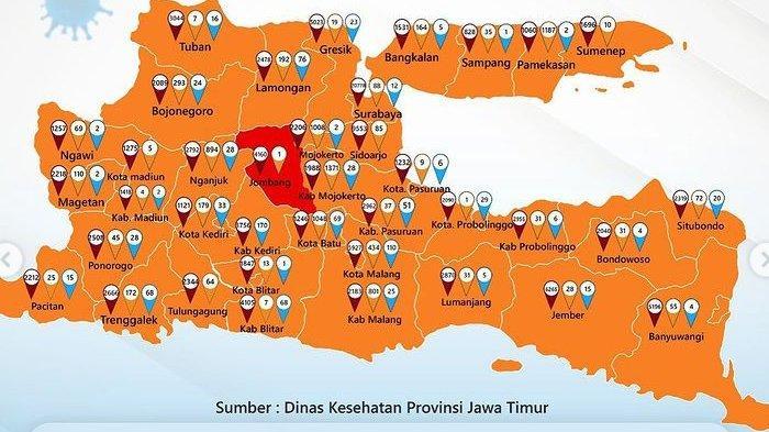 Zona Merah Jawa Timur Hari Ini Rabu 17 Februari 2021: Hanya Tersisa Kabupaten Jombang