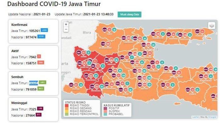 Zona Merah Corona Jawa Timur Hari Ini 24 Januari 2021, Pasien Covid-19 Bertambah 919 Orang