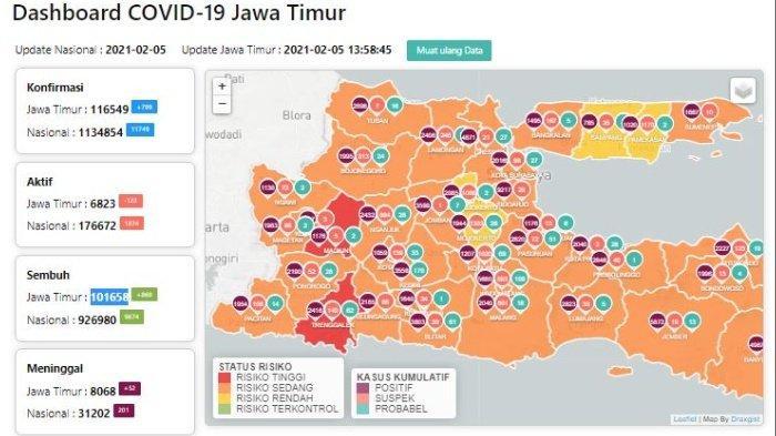 Zona Merah Jawa Timur Hari Ini Sabtu 6 Februari 2021: Ada 3 Daerah Termasuk Trenggalek dan Madiun