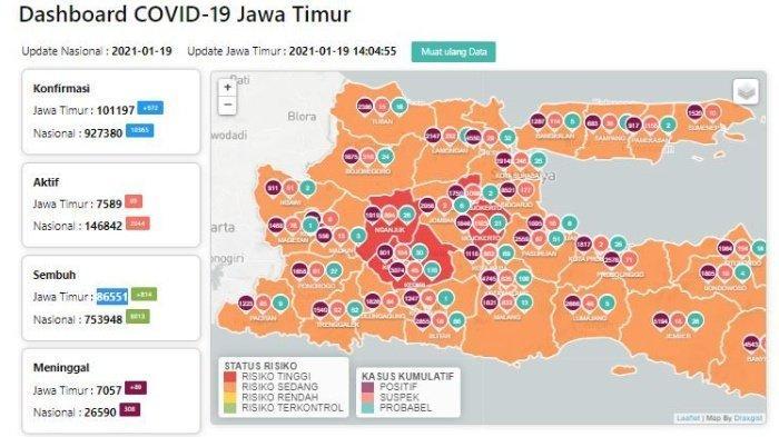 Zona Merah Jawa Timur Hari Ini Selasa 19 Januari 2021: Ada Nganjuk, Kediri, Mojokerto dan Madiun