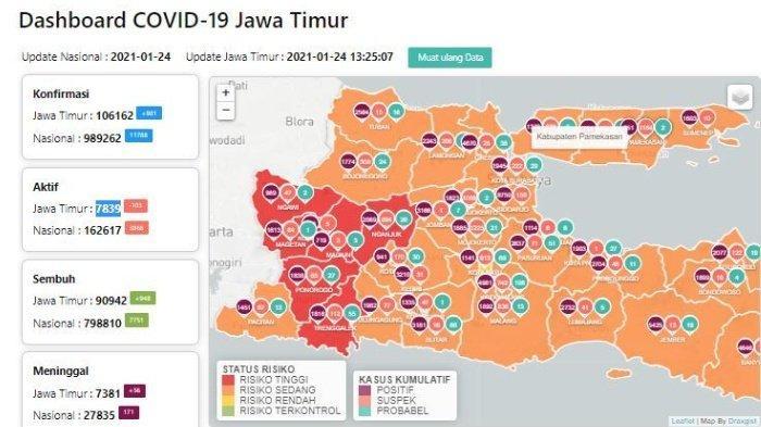 Zona Merah Jawa Timur Hari Ini Senin 25 Januari 2021: Ada 7 Daerah Termasuk Ponorogo dan Nganjuk
