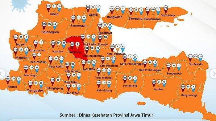 Zona Merah Jawa Timur Minggu 21 Februari 2021: Tersisa Jombang, Zona Oranye Naik & Zona Kuning Nihil