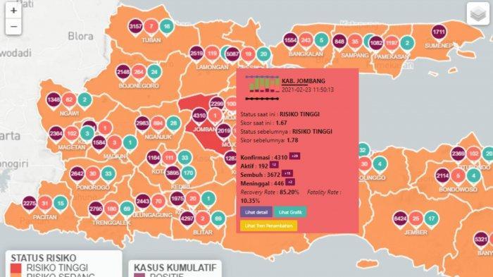 Zona Merah Jawa Timur Rabu 24 Februari 2021: Sisa Kabupaten Jombang dan 38 Daerah Lain Zona Oranye
