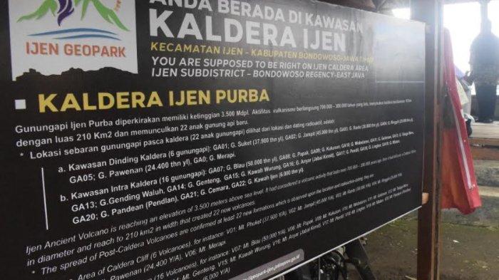Tiap Situs Ijen Geopark di Bondowoso Kini Dipasangi Papan Informasi