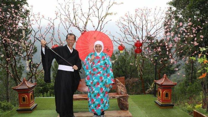 Wisata Taman Genilangit Magetan Bikin Gubernur Khofifah Enggan Beranjak Pakai Kimono Berfoto Ria