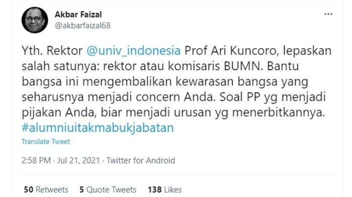 Akbar Faizal sindir rektor UI.