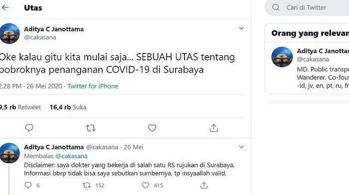 Cuitan Dokter Soal Bobroknya Penanganan Corona di Surabaya Viral, Ini Kata Pihak RS hingga Pemkot