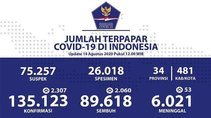 UPDATE Sebaran Virus Corona Indonesia Jumat (14/8/2020): Tambah 538 Kasus Baru dan 692 Sembuh di DKI