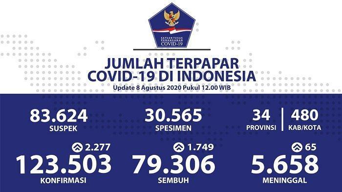 UPDATE Sebaran Virus Corona Indonesia Sabtu (8/8/2020): DKI Jakarta Catat 686 Kasus Baru, 509 Sembuh