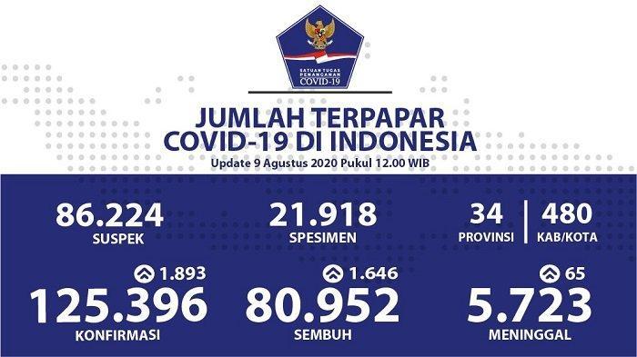 UPDATE Sebaran Virus Corona Indonesia Minggu (9/8/2020): DKI Catat Kasus Baru dan Sembuh Terbanyak