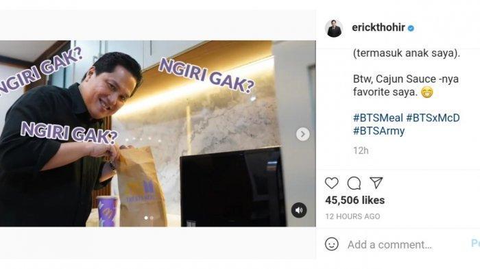 Menteri BUMN Erick Thohir pamer BTS Meal melalui sebuah unggahan di akun instagram pribadinya @erickthohir pada Kamis (10/6/2021) malam.