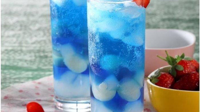 Resep Buka Puasa Praktis Minuman Berbahan Dasar Leci: Es Jeli Mi Leci dan Es Leci Biru