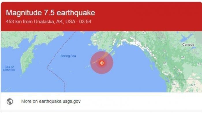 Alaska Diguncang Gempa Dahsyat M 7.5, Tsunami Kecil Diprediksi Merambat Hingga Utara Papua
