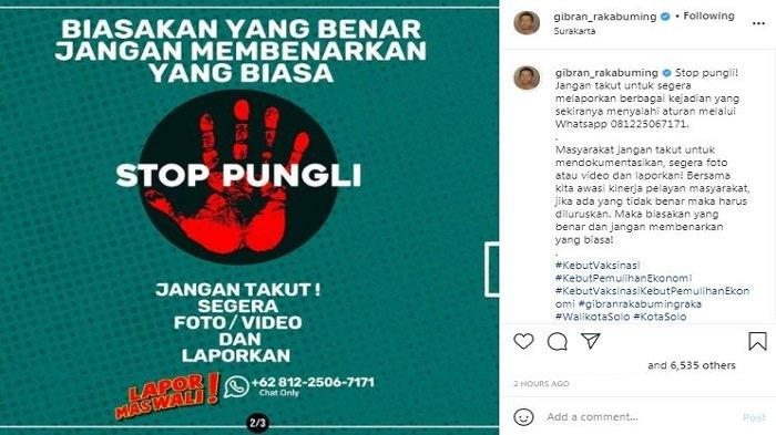 Wali Kota Solo Gibran Rakabuming Raka menjelaskan tata cara melaporkan praktik pungutan liar (pungli) dan pelanggaran lainnya yang terjadi di Kota Solo, Senin (3/5/2021).