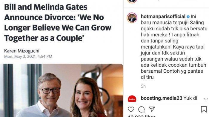 Pengacara kondang Hotman Paris Hutapea turut mengomentari perceraian pasangan filantropis tersebut melalui sebuah unggahan di akun media sosial instagram miliknya @hotmanparisofficial, Selasa (4/5/2021).